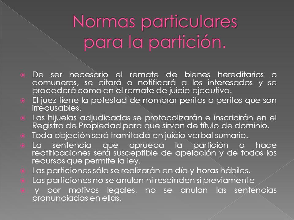 Normas particulares para la partición.