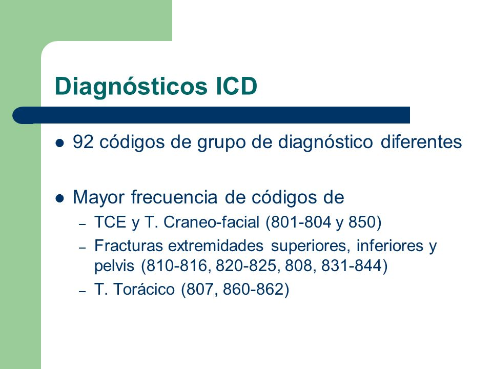 Diagnósticos ICD 92 códigos de grupo de diagnóstico diferentes