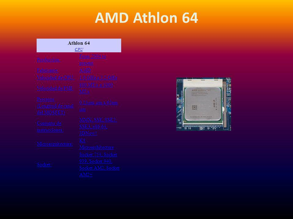 AMD Athlon 64 Athlon 64 CPU Producción: From 2004 to present