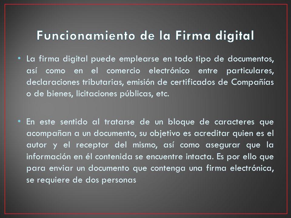 Funcionamiento de la Firma digital