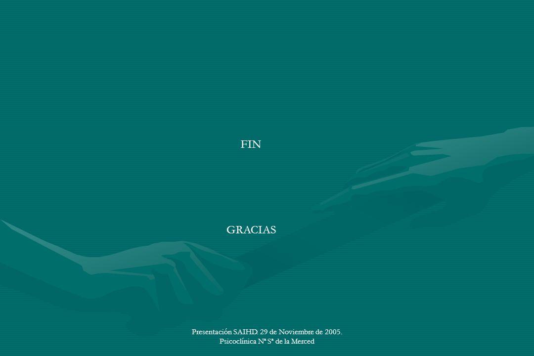 FIN GRACIAS Presentación SAIHD. 29 de Noviembre de 2005. Psicoclínica Nª Sª de la Merced
