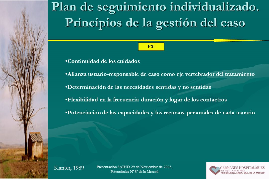 Plan de seguimiento individualizado. Principios de la gestión del caso