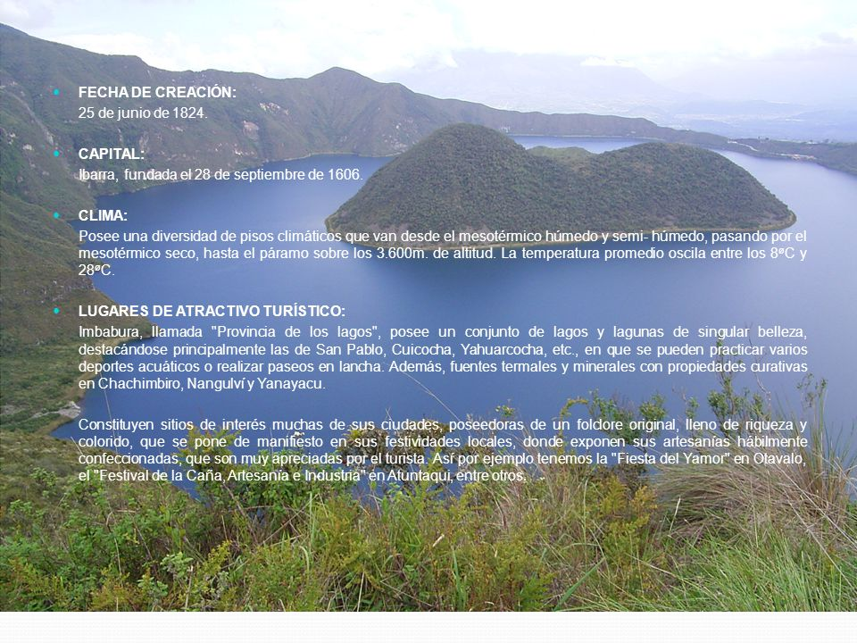 FECHA DE CREACIÓN: 25 de junio de 1824. CAPITAL: Ibarra, fundada el 28 de septiembre de 1606. CLIMA: