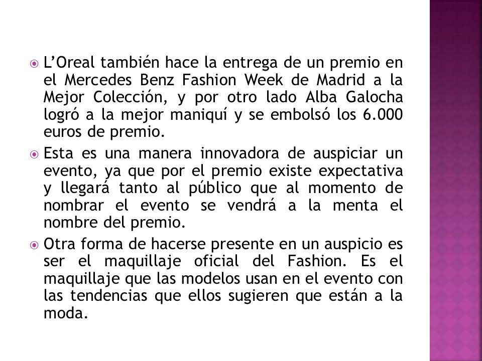 L'Oreal también hace la entrega de un premio en el Mercedes Benz Fashion Week de Madrid a la Mejor Colección, y por otro lado Alba Galocha logró a la mejor maniquí y se embolsó los 6.000 euros de premio.
