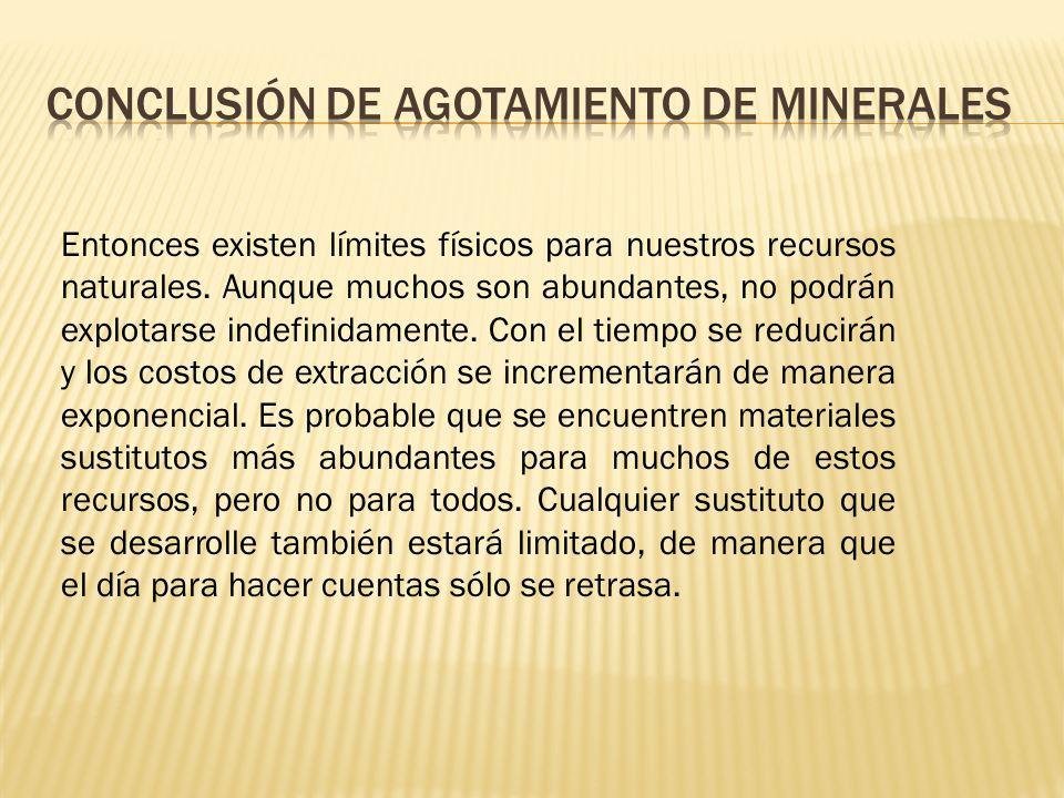 Conclusión de agotamiento de minerales