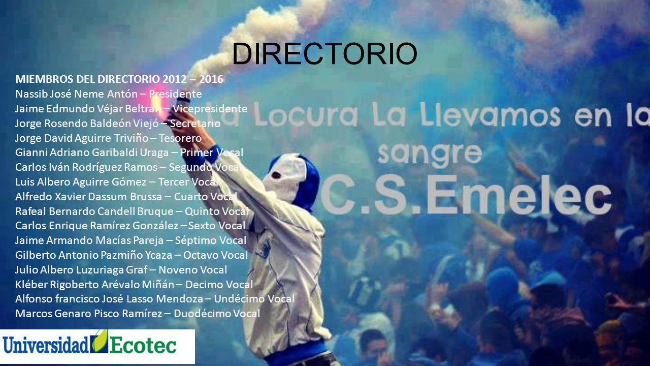 DIRECTORIO MIEMBROS DEL DIRECTORIO 2012 – 2016