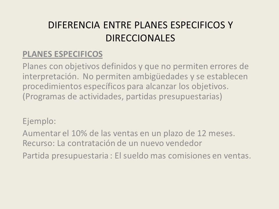 DIFERENCIA ENTRE PLANES ESPECIFICOS Y DIRECCIONALES