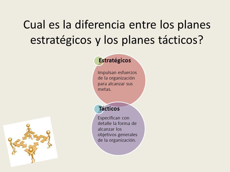 Cual es la diferencia entre los planes estratégicos y los planes tácticos