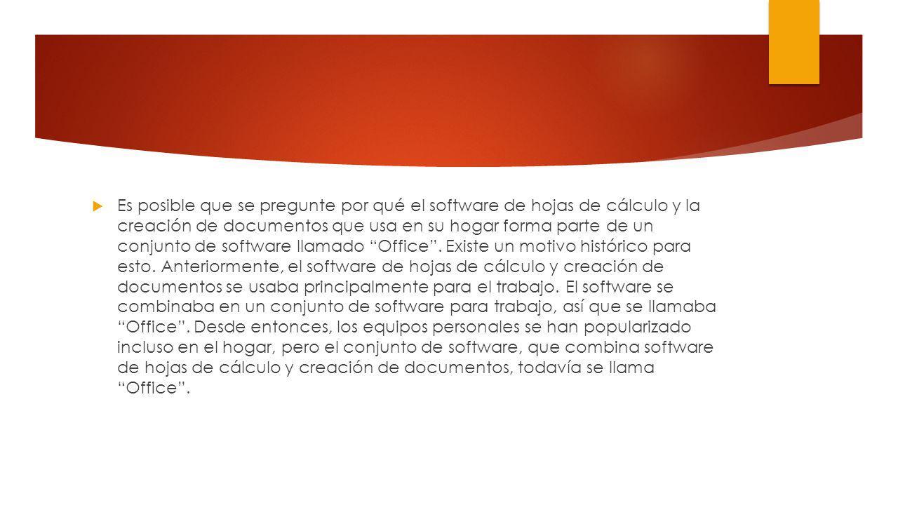 Es posible que se pregunte por qué el software de hojas de cálculo y la creación de documentos que usa en su hogar forma parte de un conjunto de software llamado Office .