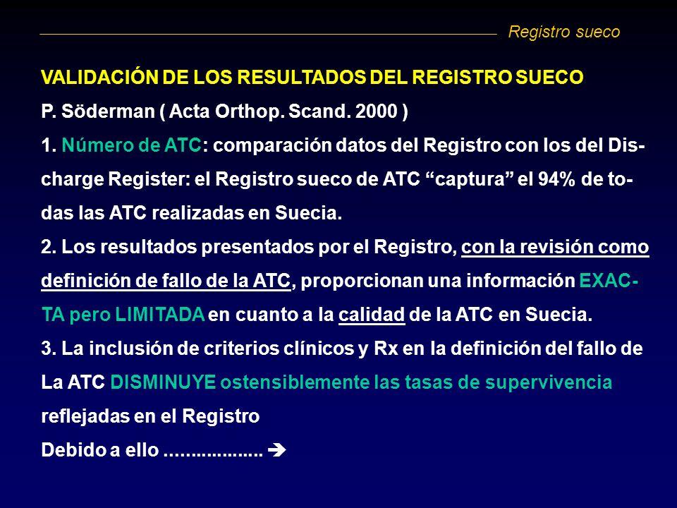 VALIDACIÓN DE LOS RESULTADOS DEL REGISTRO SUECO