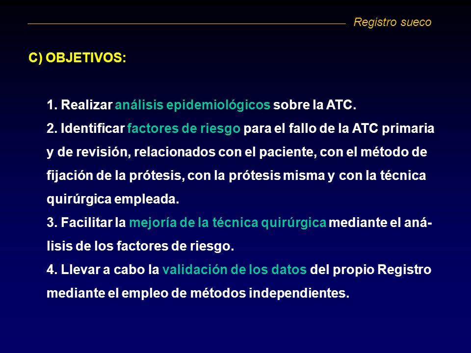 1. Realizar análisis epidemiológicos sobre la ATC.