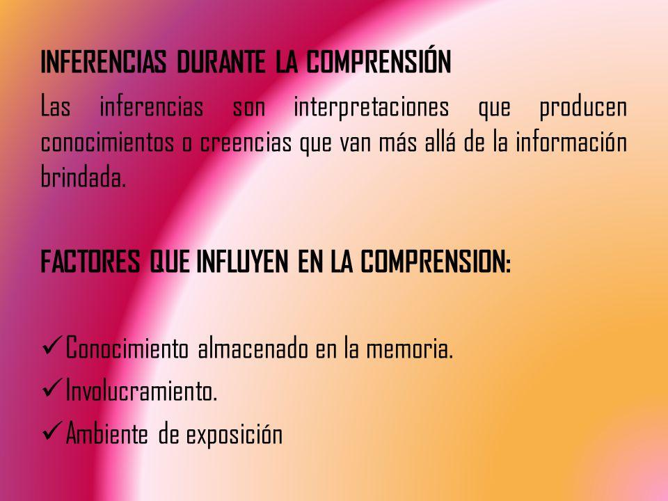 INFERENCIAS DURANTE LA COMPRENSIÓN