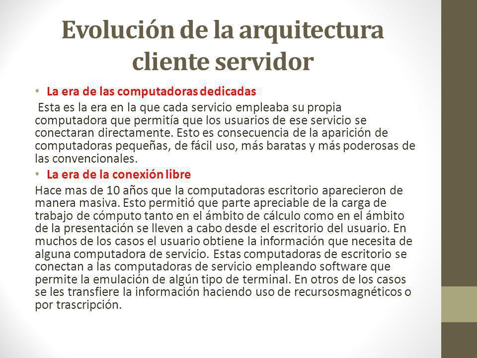Evolución de la arquitectura cliente servidor