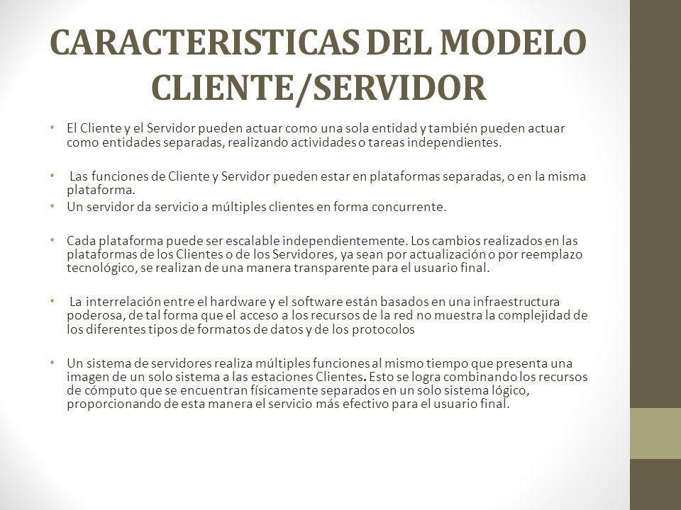 CARACTERISTICAS DEL MODELO CLIENTE/SERVIDOR