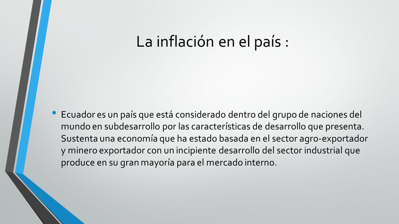 La inflación en el país :