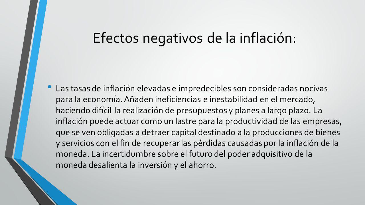 Efectos negativos de la inflación: