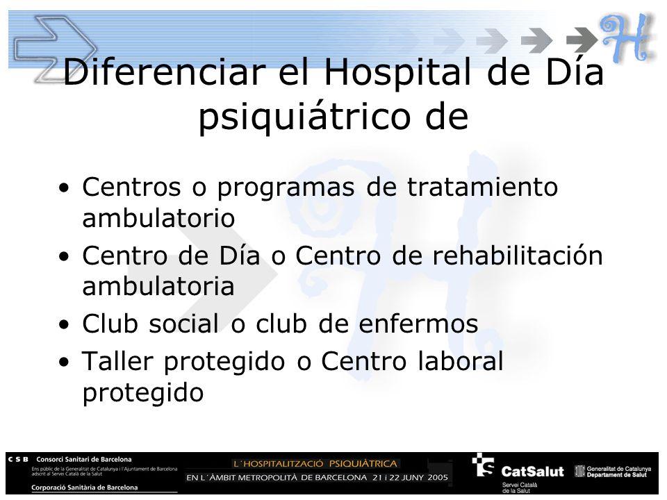 Diferenciar el Hospital de Día psiquiátrico de