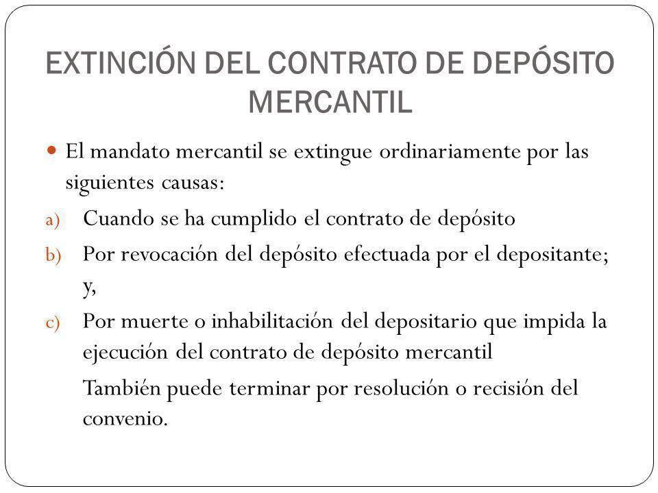 EXTINCIÓN DEL CONTRATO DE DEPÓSITO MERCANTIL
