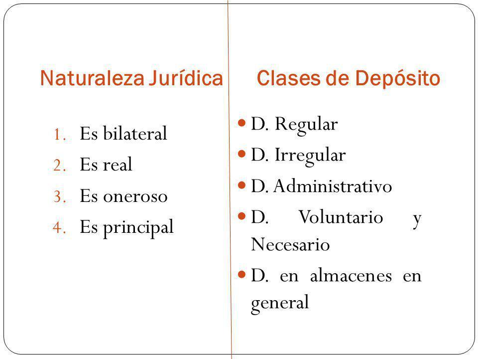 Naturaleza Jurídica Clases de Depósito. D. Regular. D. Irregular. D. Administrativo. D. Voluntario y Necesario.