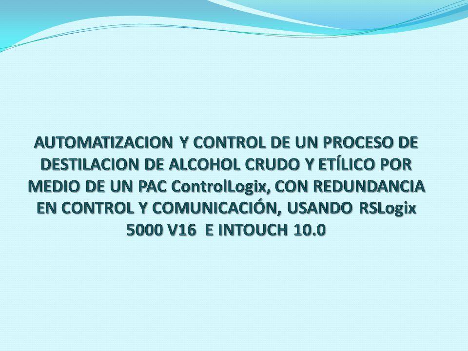 AUTOMATIZACION Y CONTROL DE UN PROCESO DE DESTILACION DE ALCOHOL CRUDO Y ETÍLICO POR MEDIO DE UN PAC ControlLogix, CON REDUNDANCIA EN CONTROL Y COMUNICACIÓN, USANDO RSLogix 5000 V16 E INTOUCH 10.0