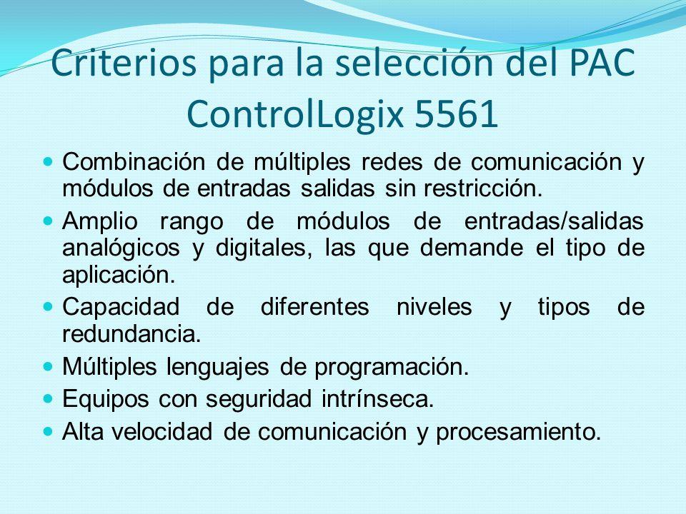 Criterios para la selección del PAC ControlLogix 5561