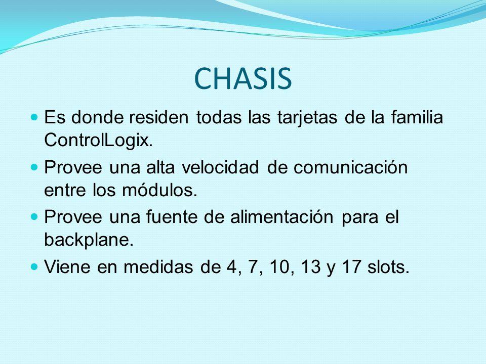 CHASIS Es donde residen todas las tarjetas de la familia ControlLogix.