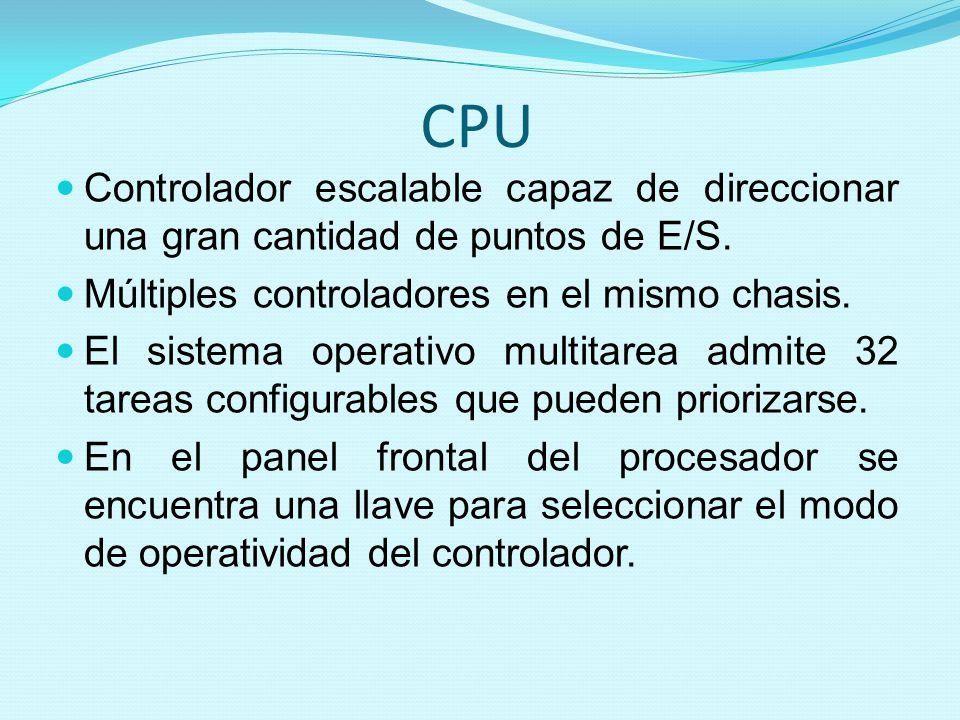 CPU Controlador escalable capaz de direccionar una gran cantidad de puntos de E/S. Múltiples controladores en el mismo chasis.
