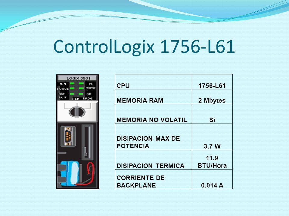 ControlLogix 1756-L61 CPU 1756-L61 MEMORIA RAM 2 Mbytes