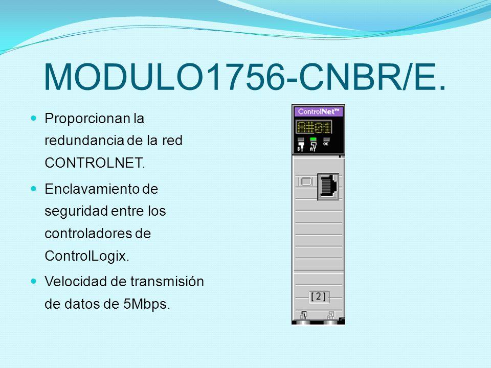 MODULO1756-CNBR/E. Proporcionan la redundancia de la red CONTROLNET.