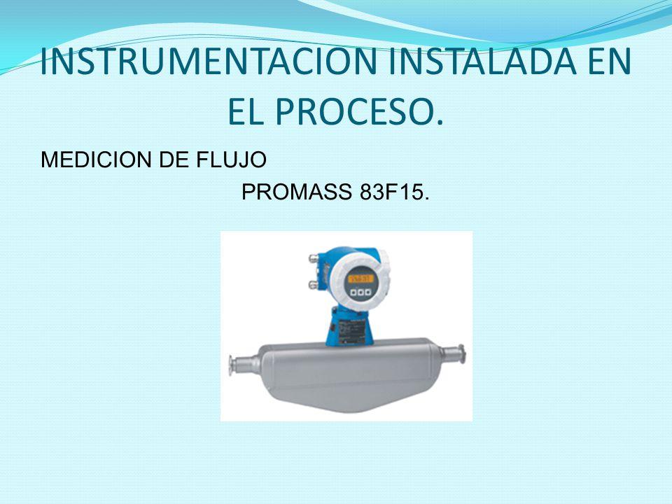 INSTRUMENTACION INSTALADA EN EL PROCESO.