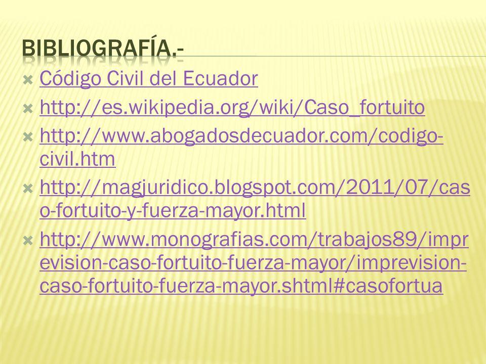 BIBLIOGRAFÍA.- Código Civil del Ecuador