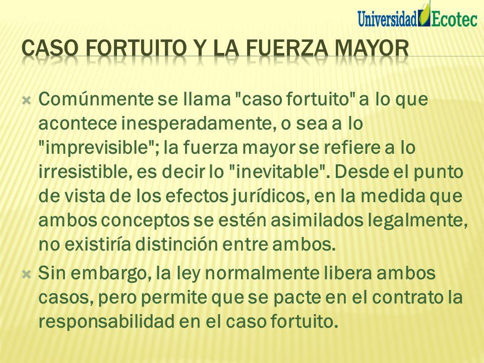 CASO FORTUITO Y LA FUERZA MAYOR