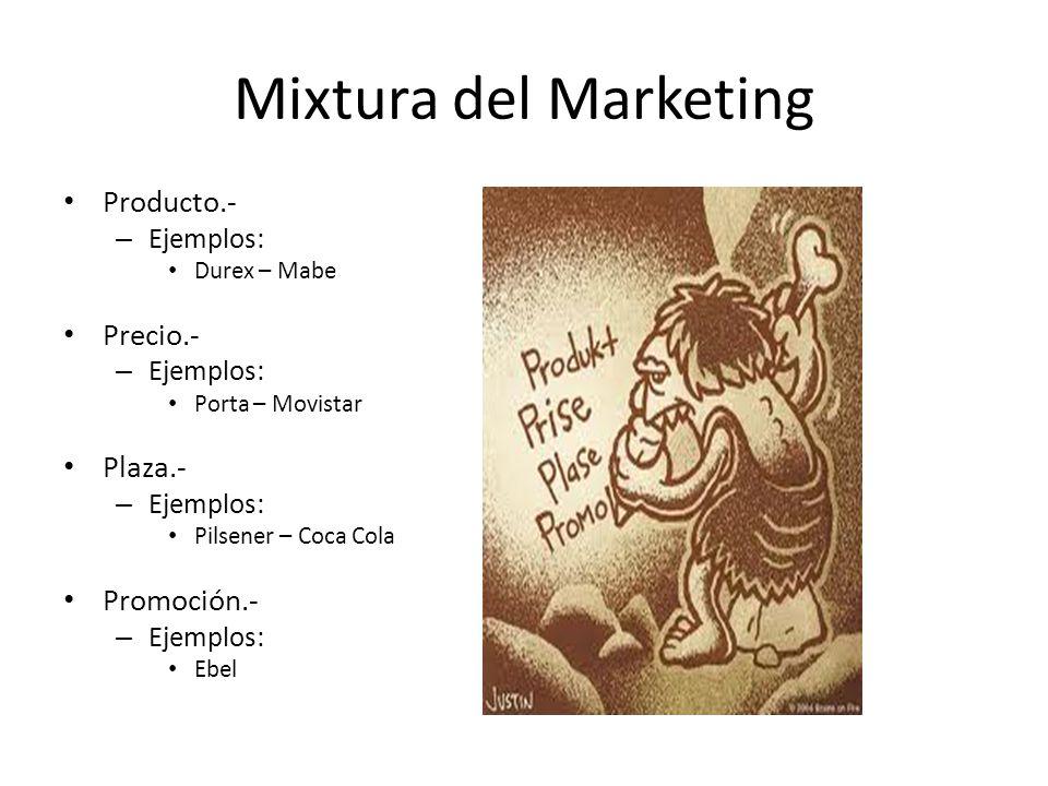 Mixtura del Marketing Producto.- Precio.- Plaza.- Promoción.-