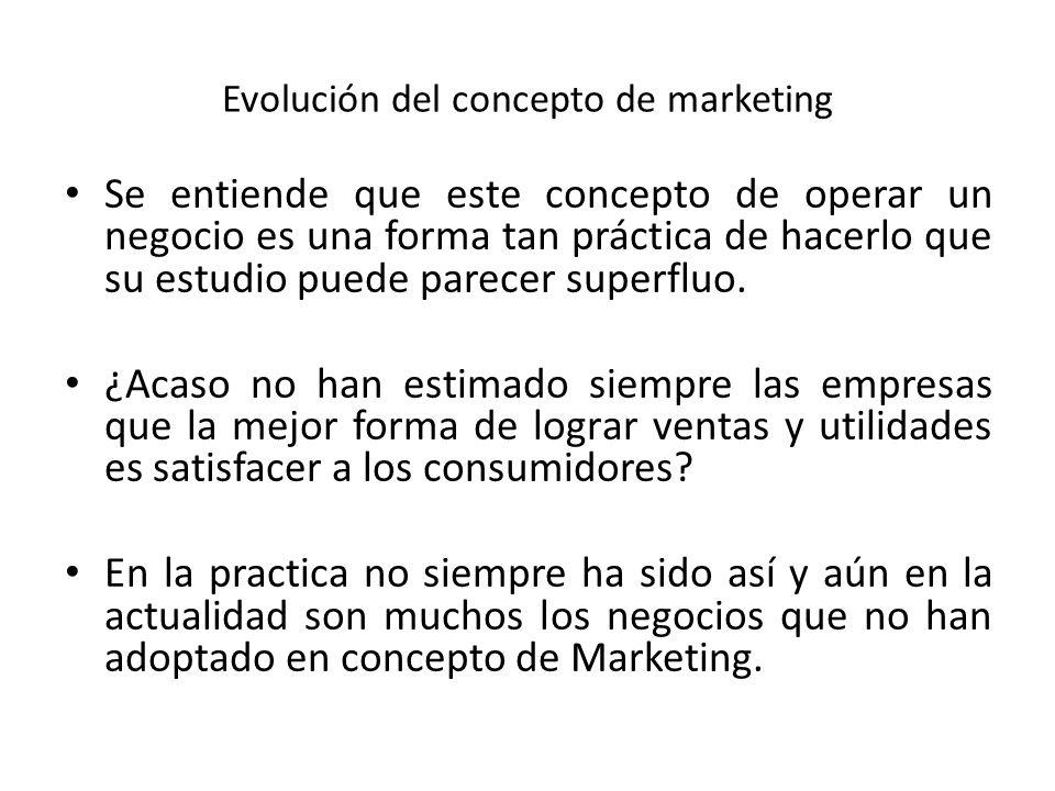 Evolución del concepto de marketing