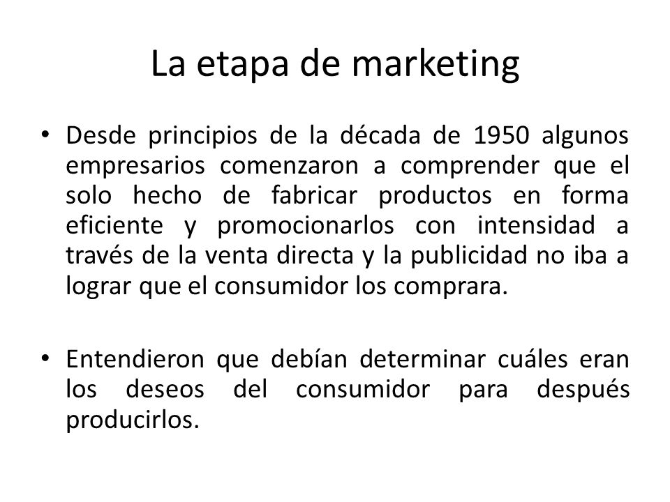 La etapa de marketing