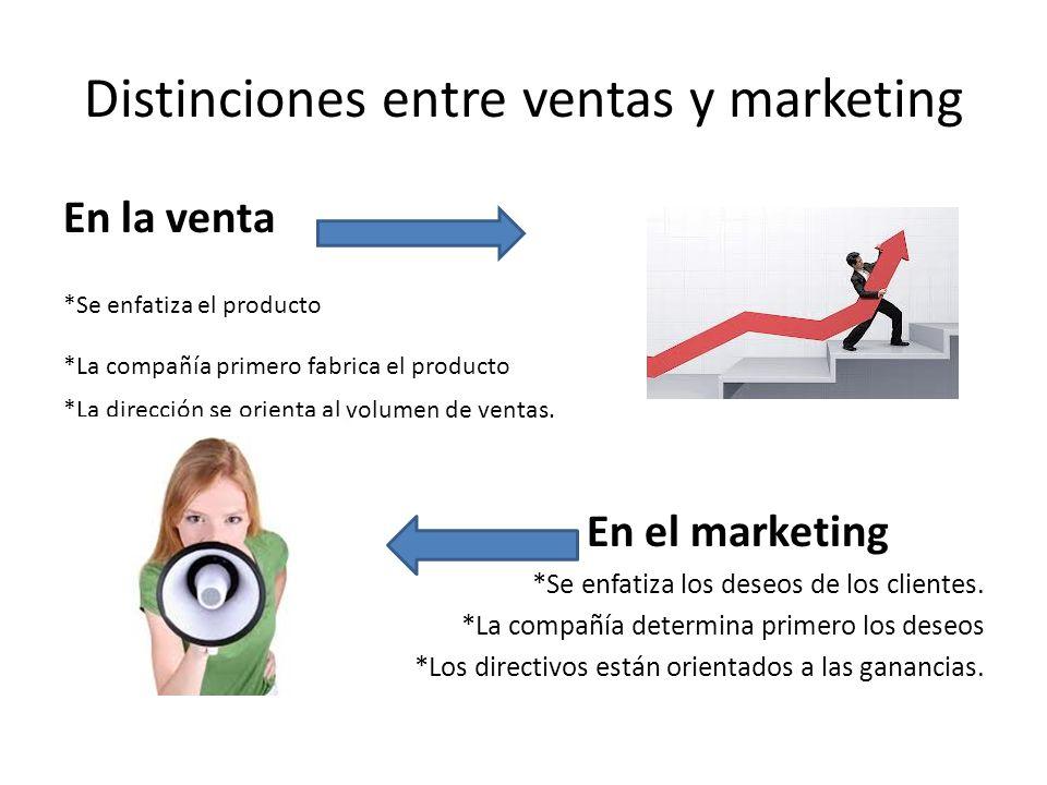 Distinciones entre ventas y marketing