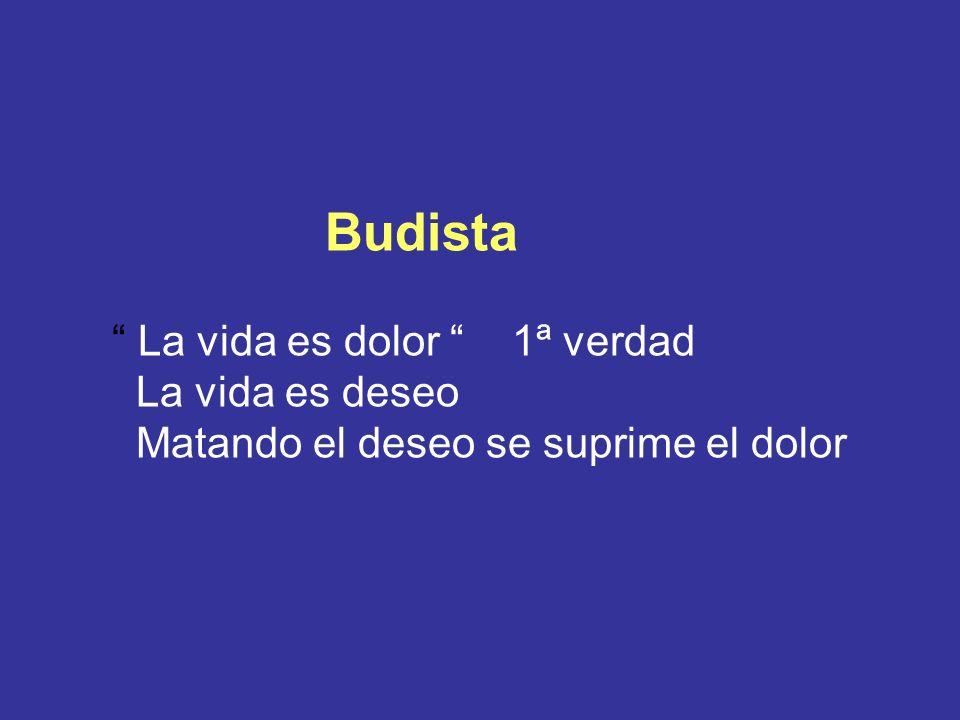 Budista La vida es dolor 1ª verdad La vida es deseo Matando el deseo se suprime el dolor