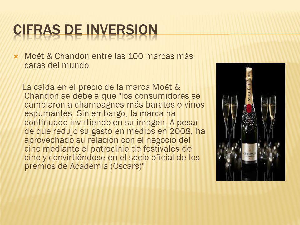 CIFRAS DE INVERSION Moët & Chandon entre las 100 marcas más caras del mundo.