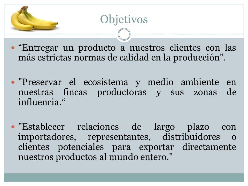Objetivos Entregar un producto a nuestros clientes con las más estrictas normas de calidad en la producción .