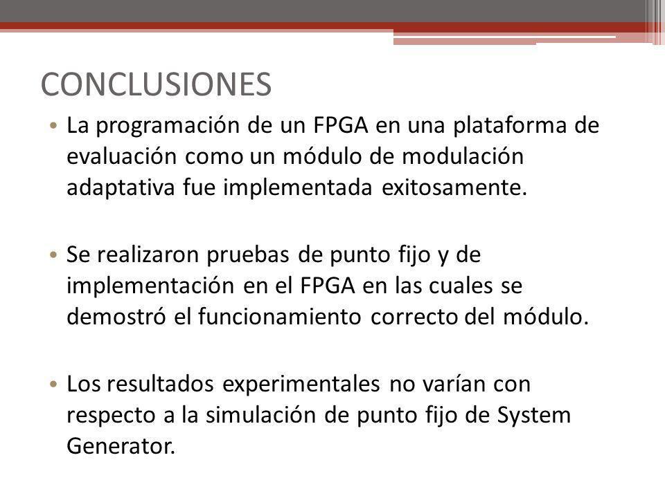 CONCLUSIONES La programación de un FPGA en una plataforma de evaluación como un módulo de modulación adaptativa fue implementada exitosamente.