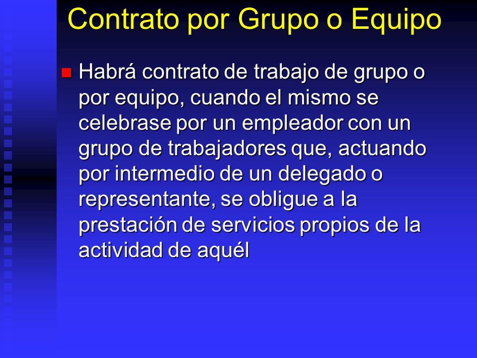 Contrato por Grupo o Equipo