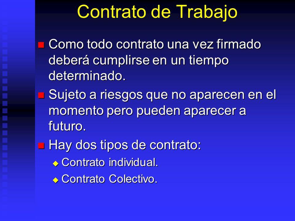 Contrato de Trabajo Como todo contrato una vez firmado deberá cumplirse en un tiempo determinado.