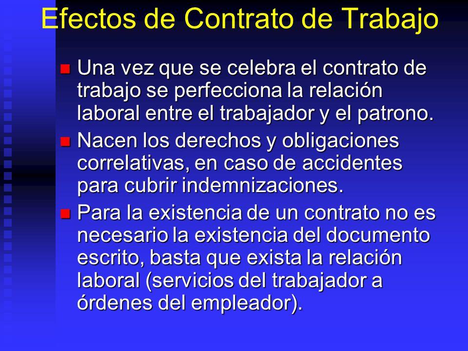 Efectos de Contrato de Trabajo