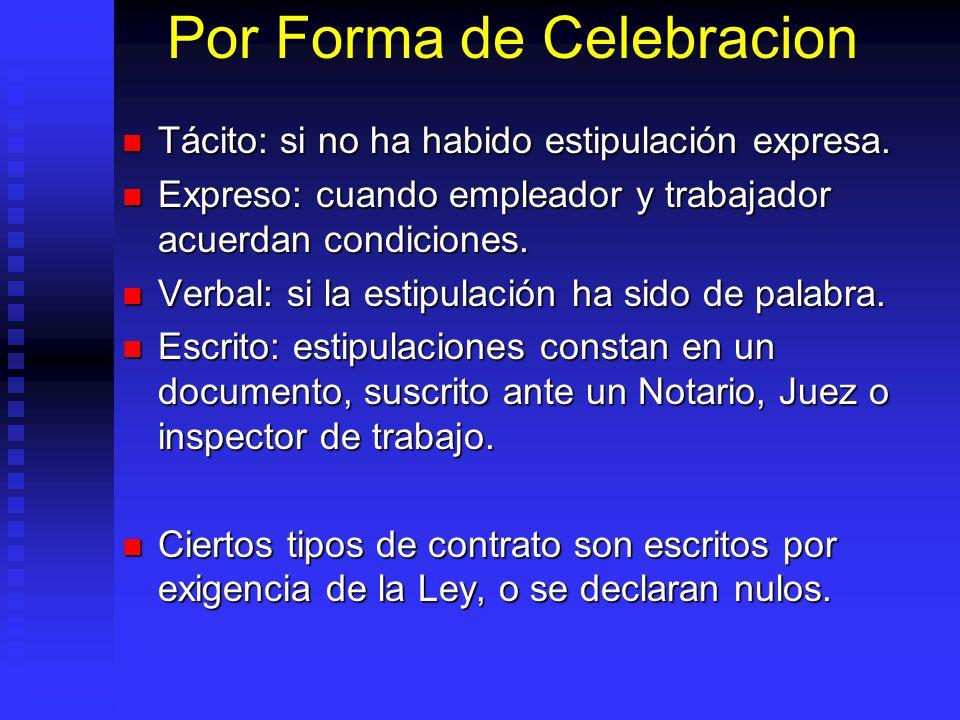 Por Forma de Celebracion