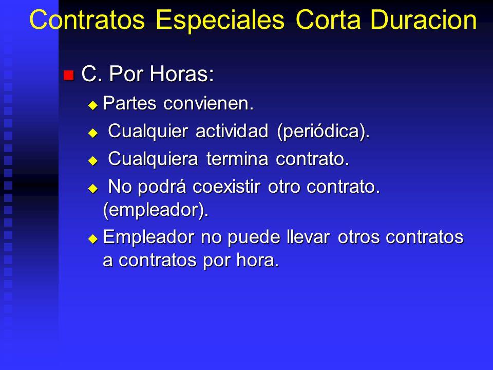 Contratos Especiales Corta Duracion