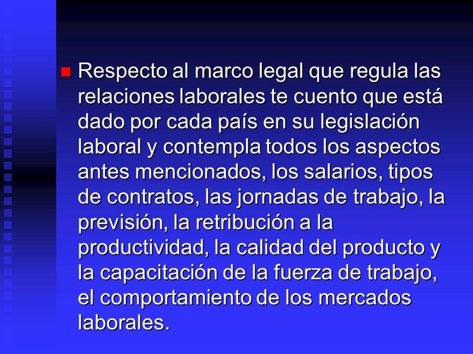 Respecto al marco legal que regula las relaciones laborales te cuento que está dado por cada país en su legislación laboral y contempla todos los aspectos antes mencionados, los salarios, tipos de contratos, las jornadas de trabajo, la previsión, la retribución a la productividad, la calidad del producto y la capacitación de la fuerza de trabajo, el comportamiento de los mercados laborales.