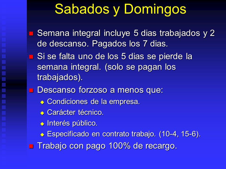Sabados y Domingos Semana integral incluye 5 dias trabajados y 2 de descanso. Pagados los 7 dias.