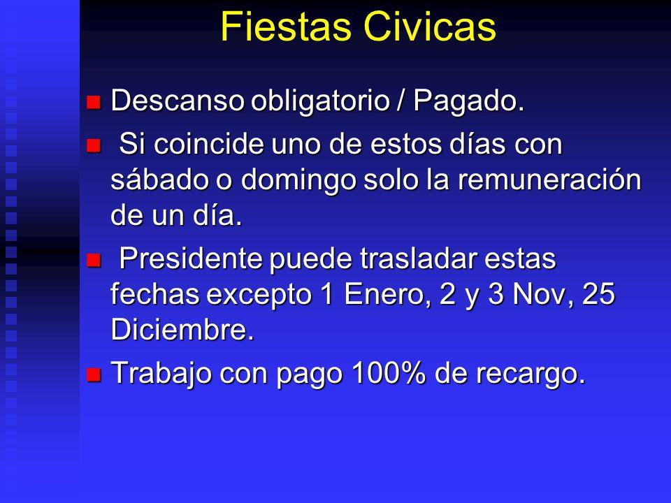 Fiestas Civicas Descanso obligatorio / Pagado.
