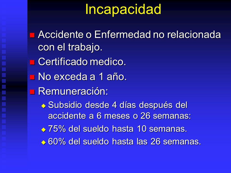 Incapacidad Accidente o Enfermedad no relacionada con el trabajo.