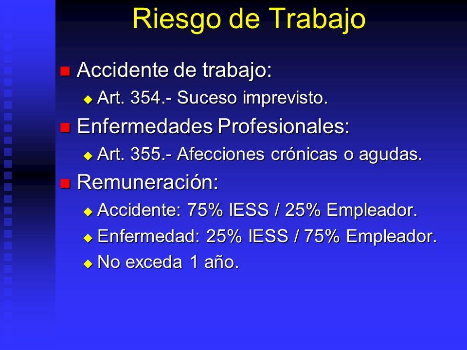 Riesgo de Trabajo Accidente de trabajo: Enfermedades Profesionales: